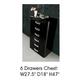 ESF Furniture La Star 6 Drawer Chest in Black