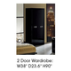 ESF Furniture La Star 2 Door Wardrobe in Black