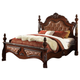 Meridian Luxor Queen Leather Poster Bed in Cherry
