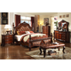 Meridian Luxor 4-Piece Leather Poster Bedroom Set in Cherry