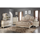 Meridian Marquee 4-Piece Leather Panel Bedroom Set in Pearl White