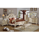 Meridian Monaco 4-Piece Leather Poster Bedroom Set in White