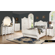 Meridian Riviera 4-Piece Sleigh Bedroom Set in Antique White