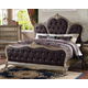 Meridian Roma Queen Upholstered Panel Bed in Antique Silver