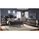 Meridian Roma 4-Piece Upholstered Panel Bedroom Set in Antique Silver