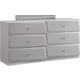 Global Furniture Barcelona 6 Drawer Dresser in Silver Line