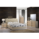 Global Furniture Grace 4-Piece Upholstered Bedroom Set in Champagne/Zebra Cherry