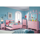 Bronett 6-Piece Panel Bedroom Set w/ Trundle Under Bed Storage in Pink