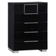 Global Furniture Hailey 5 Drawer Chest in Black