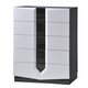 Global Furniture Hudson 5 Drawer Chest in Zebra Grey/White
