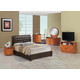 Global Furniture Emily/8119 4-Piece Bedroom Set in Brown/Cherry