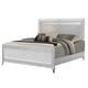 Global Furniture Catalina King Panel Bed in Metallic White