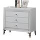 Global Furniture Catalina 3 Drawer Nightstand in Metallic White
