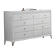 Global Furniture Catalina 9 Drawer Dresser in Metallic White