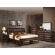 Global Furniture Sarina 4-Piece Platform Bedroom Set in Varnish Oak