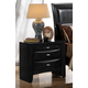 Global Furniture Celia 2 Drawer Nightstand in Black