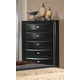 Global Furniture Celia 5 Drawer Chest in Black