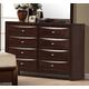 Global Furniture Livia 8 Drawer Dresser in Merlot