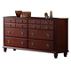Global Furniture Laura 6 Drawer Dresser in Cherry