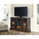 North Shore Large TV Stand w/ Fireplace in Dark Brown