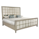 Bernhardt Marquesa Mirrored Queen Panel Bed in Gray Cashmere Finish