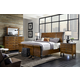 Aspenhome Rockland 4-Piece Sleigh with Metal Bedroom Set in Vintage Brown