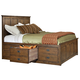 Intercon Furniture Oak Park Queen Panel Bed w/ 6 Storage Drawers in Mission
