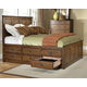 Intercon Furniture Oak Park King Panel Bed w/ 12 Storage Drawers in Mission
