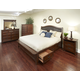 Intercon Furniture Star Valley 4-Piece Upholstered Storage Bedroom Set in Rustic Cherry