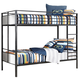 Notelly Twin/Twin Metal Bunk Bed in Gray