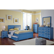 Bronilly Modern 4-Piece Youth Storage Panel Bedroom Set in Blue