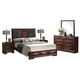Baxton Studio Windsor 5-Piece Queen Modern Bedroom Set in Cherry-Tinged Brown