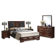 Baxton Studio Windsor 5-Piece King Modern Bedroom Set in Cherry-Tinged Brown