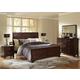 Baxton Studio Tichenor Queen 5 Piece Wooden Modern Bedroom Set in Dark Brown Cherry