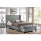 Baxton Studio Norwich 2-Piece Queen Modern Bed and Bench in Grey Linen