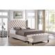 Baxton Studio Norwich 2-Piece King Modern Bed and Bench in Light Beige Linen