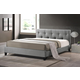 Baxton Studio Annette Queen Modern Bed with Upholstered Headboard in Gray Linen