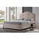 Baxton Studio Armeena King Modern Storage Bed with Upholstered Headboard in Beige Linen