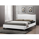 Baxton Studio Battersby Queen Modern Bed with Upholstered Headboard in White