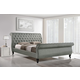 Baxton Studio Jazmin Queen Tufted Modern Bed with Upholstered Headboard in Grey