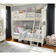 Smartstuff Furniture Genevieve 4-Piece Bunk Bedroom Set in French White
