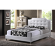 Baxton Studio Carlotta Queen Modern Bed with Upholstered Headboard in White