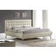 Baxton Studio Elizabeth King Modern Bed with Upholstered Headboard in Pearlized Almond