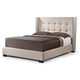Baxton Studio Favela King Modern Bed with Upholstered Headboard in Beige