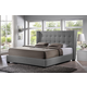 Baxton Studio Favela King Modern Bed with Upholstered Headboard in Grey