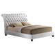 Baxton Studio Jazmin Queen Tufted Modern Bed with Upholstered Headboard in White