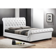 Baxton Studio Leighlin Queen Modern Sleigh Bed with Upholstered Headboard in White