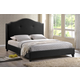 Baxton Studio Marsha Queen Scalloped Linen Modern Bed with Upholstered Headboard in Black