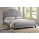 Baxton Studio Marsha Full Scalloped Linen Modern Bed with Upholstered Headboard in Gray