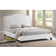 Baxton Studio Marsha Queen Scalloped Linen Modern Bed with Upholstered Headboard in White